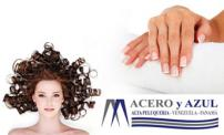 62% OFF Manicure and Pedicure + Paraffin at Acero y Azul.